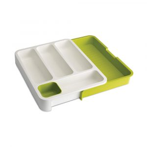 Plastic Cutlery Tray White/Green