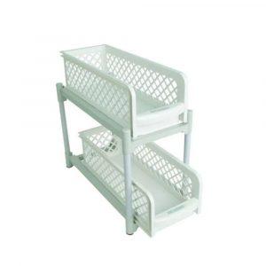 Portable 2 Tier Basket Drawer White