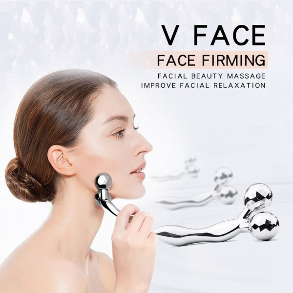3D V Face Kneading Ball Massager Tool Silver 15.5x9.5x5.3cm