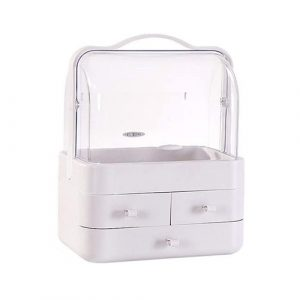 Makeup Organizer With Dustproof Lid White_Clear-7