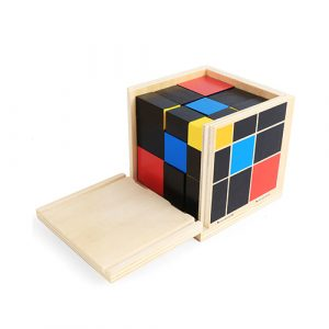 Wooden Trinomial Cube Toys Math Learning Educational Cube Box